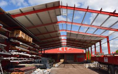 Bau der neuen Lagerplatz-Überdachung in vollem Gange
